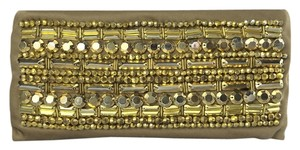 Tory Burch Beaded Lily Wedding Party Gold Clutch