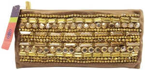 Tory Burch Beaded Lily Fawn Evening Gold Clutch