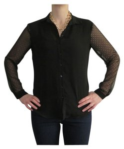 Zara Sheer Sleeves Button Down Button Down Shirt Black