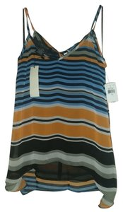 MM Couture Spaghetti Strap Miss Me Striped Hi Lo Adjustable Top Blue Black Orange Gray