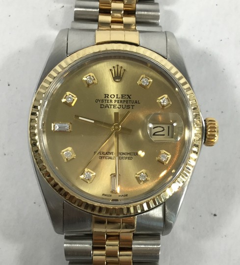 Rolex Rolex Datejust Stainless Steel and Yellow Gold Champagne Diamond Watch