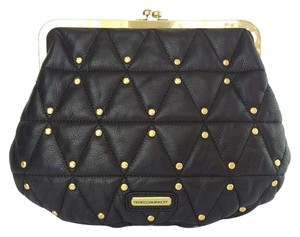 Rebecca Minkoff Quilted Studded Leather Kiss Lock Evening Black Clutch