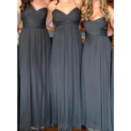 Amsale Charcoal Crinkle Chiffon Traditional Bridesmaid/Mob Dress Size 8 (M)