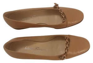 Salvatore Ferragamo Rubber Soles Made In Italy Tan Flats