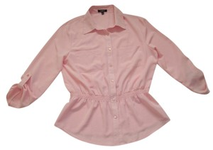 Elementz Button Closures Roll-tab Sleeves Cinched Waist Button Down Shirt Pink