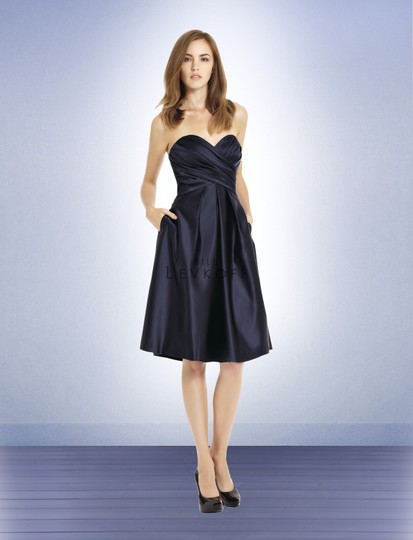 Bill Levkoff Navy Satin 586 Traditional Bridesmaid/Mob Dress Size 10 (M)