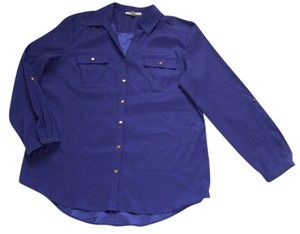JM Collection Imported Point Collar Button Down Shirt Dark Purple