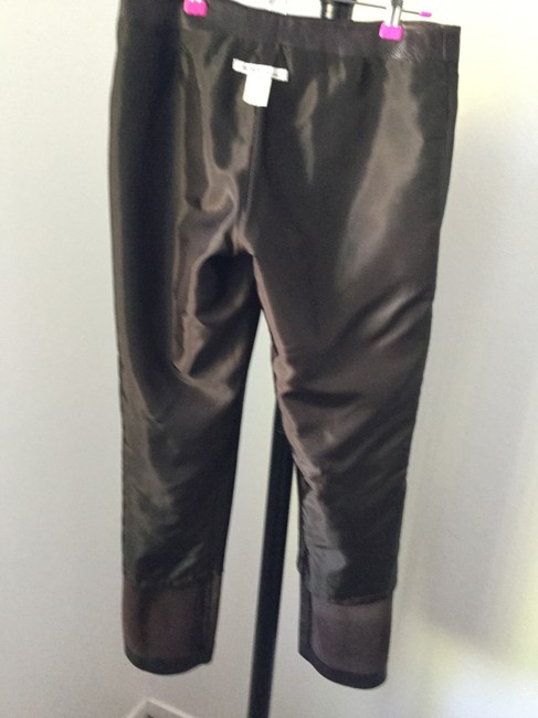 Michael Kors Leather Leg Straight Pants Brown