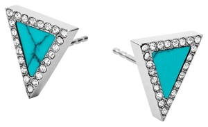 Michael Kors Michael Kors Women's Silver Tone Stainless Steel & Turquoise Stone Glitz Earrings MKJ4253040