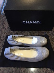Chanel Classic Canvas Snake Elastic Ballet Gray Flats