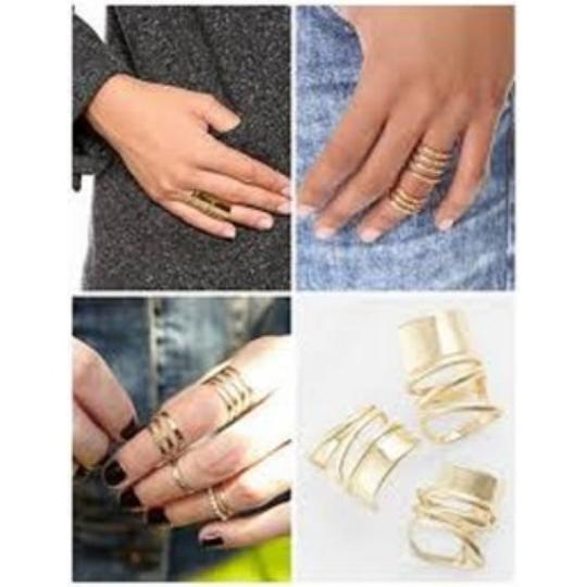 Michael Kors Gold-Tone Pave Knuckle Ring Size 7