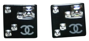 Chanel Chanel Earrings CC Logo Crystal Black Resin Square Stud Authentic Box Bag 05A Classic Timeless