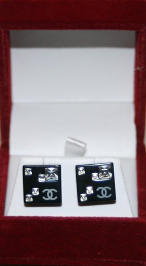 Chanel CC Logo Crystal Black Resin Square Stud Box Bag 05A Classic Timeless