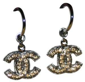 Chanel Chanel Earrings CC Logo Crystal Silver Tone Hardware Dangling Drop Authentic Box Bag 09C Classic Timeless