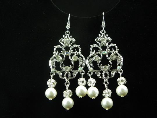 White Chandelier Statement Crystal Pearl and Rhinestone Earrings