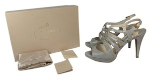 Prada Leather Platform Logo Gray Sandals