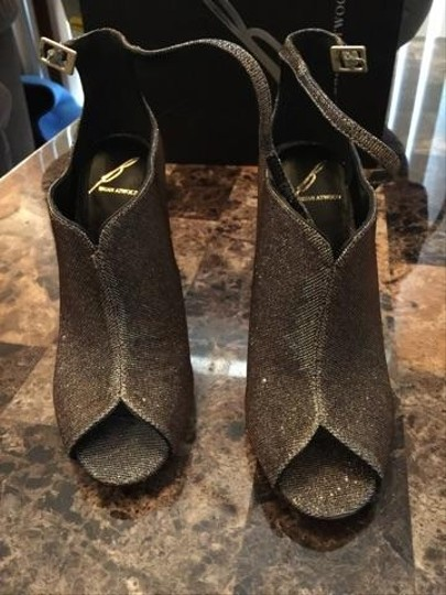 B Brian Atwood Silver/Gold/Black Boots