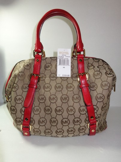 Michael Kors Bedford Monogram Jacquard Satchel in Beige/Red