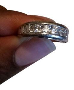 Sterling silver cz double size design band ring