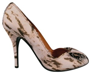Lanvin Leopard Cheetah Bow Raw-edge Beige Pumps