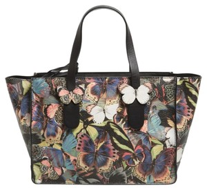 Valentino Leather Camouflage Butterfly Tote in Multi color