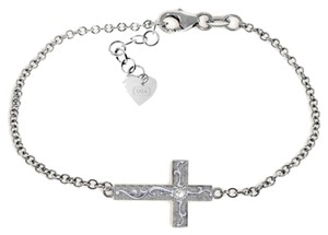 0.05 Carat 14k White Gold Cross Bracelet with Natural Diamond