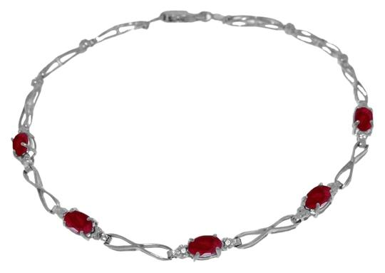 Other 1.16 Ct 14k White Gold Natural Ruby and Diamond Tennis Bracelet