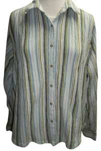Columbia Sportswear Company Long Sleeve Striped Crinkle Texture Blue Green Button Down Shirt Multi-Striped