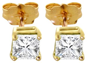 1 CT Diamond Stud Earrings 14k Solid Yellow Gold Princess Cut