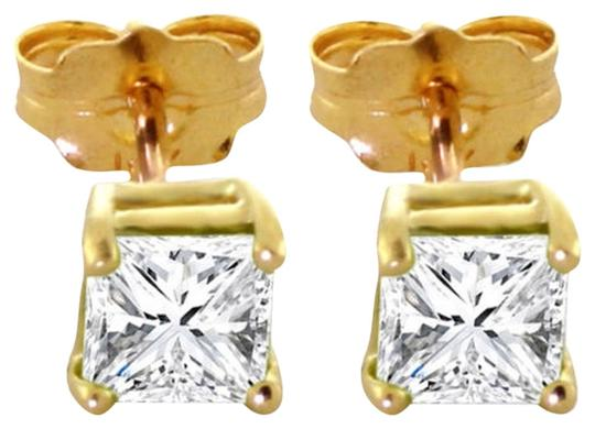 Other 1 CT Diamond Stud Earrings 14k Solid Yellow Gold Princess Cut
