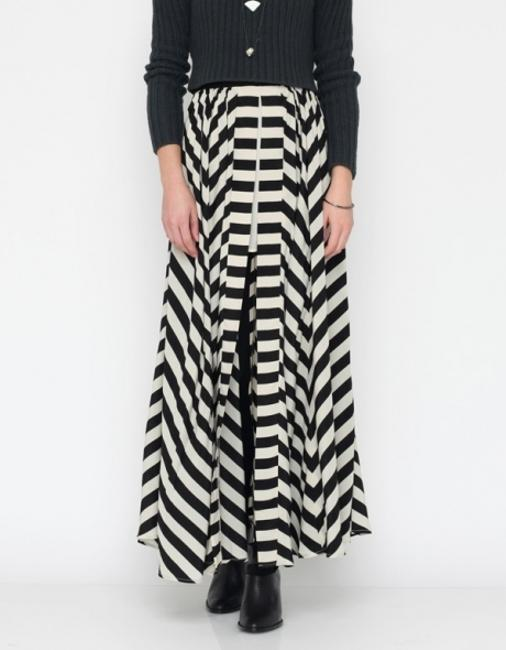 Finders Keepers Maxi Skirt Black & Cream