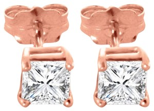 1 CT Diamond Stud Earrings 14k Solid Rose Gold Princess Cut