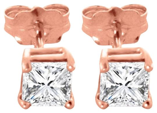 Other 1 CT Diamond Stud Earrings 14k Solid Rose Gold Princess Cut