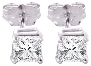 1 CT Diamond Stud Earrings 14k Solid White Gold Princess Cut