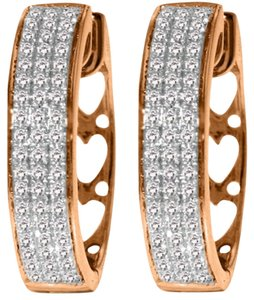 Diamond Earrings 0.45 Carat 10k Rose Gold Hoop with Heart Motif On Back