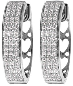 Diamond Earrings 0.45 Carat 10k White Gold Hoop with Heart Motif On Back