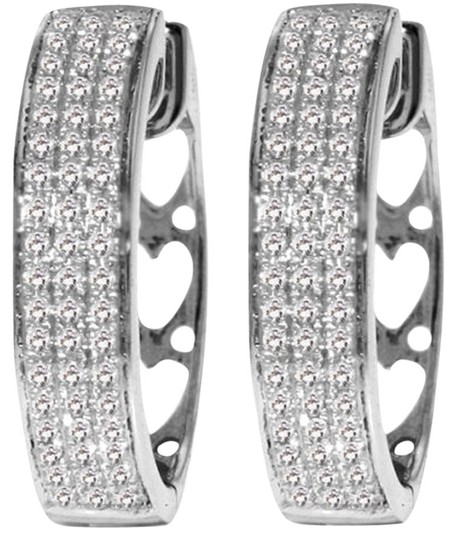 Other Diamond Earrings 0.45 Carat 10k White Gold Hoop with Heart Motif On Back