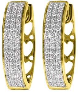 Diamond Earrings 0.45 Carat 10k Yellow Gold Hoop with Heart Motif On Back