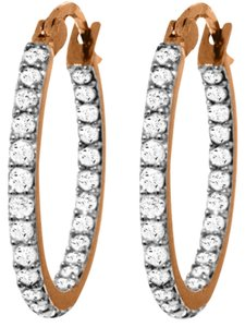 0.75 CT Diamond 14k Rose Gold Hoop Earrings Natural Diamond