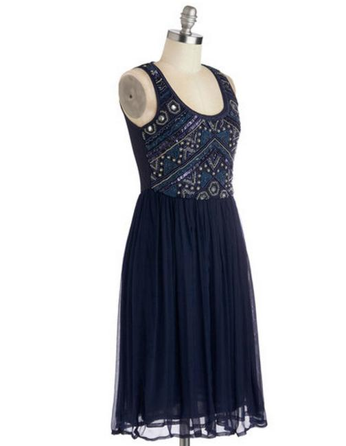 Modcloth Flapper Beaded Chiffon Vintage Great Gatsby Dress