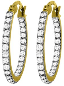 0.75 CT Diamond 14k Yellow Gold Hoop Earrings Natural Diamond