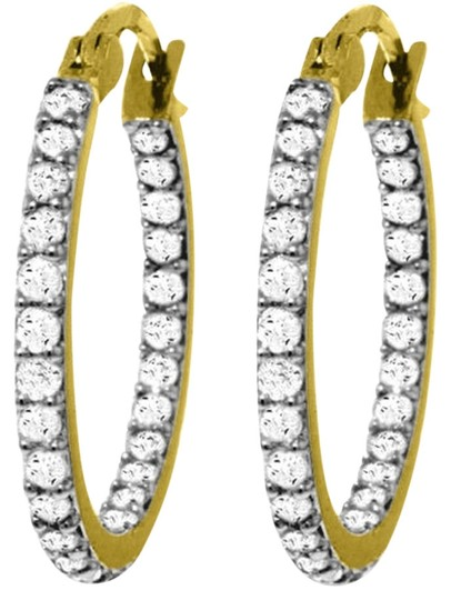 Other 0.75 CT Diamond 14k Yellow Gold Hoop Earrings Natural Diamond