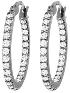 0.75 CT Diamond 14k White Gold Hoop Earrings Natural Diamond