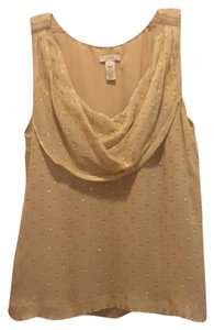 J.Crew Polka Dot Cowl Neck Silk Top Gold
