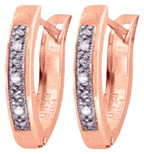 Other 0.04 CT Diamond 14k Rose Gold Oval Huggie Earrings