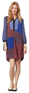 Anthropologie short dress Black, blue, red Silk Patchwork on Tradesy