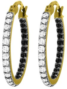 0.81 CT 14k. Yellow Gold Hoop Earring With Natural Black & White Diamonds