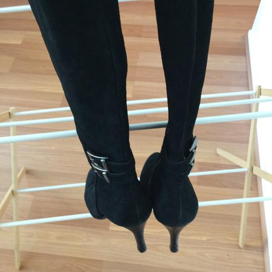 Calvin Klein Black Suede Chrome Buckled Boots
