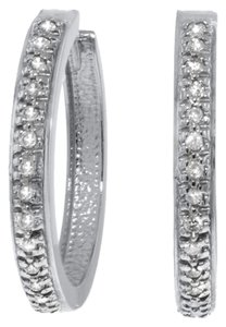 0.28 CT Diamond 14k. White Gold Hoop Huggie Earrings