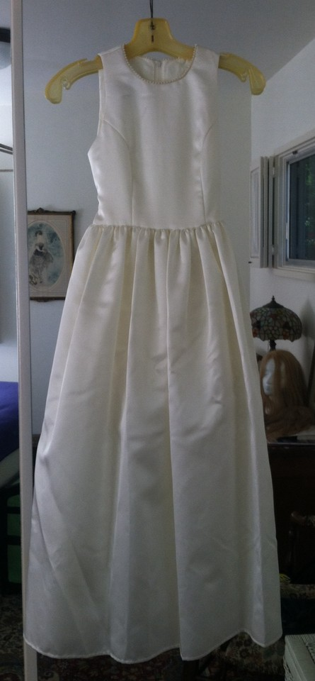 b141fa239f Jessica McClintock Ivory White Polyester Acetate Flower Girl Formal  Bridesmaid Mob Dress Size Petite 0 ...